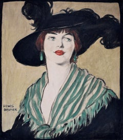 Portrait of Lady in Black Feathered Hat - Watercolour 20th Century