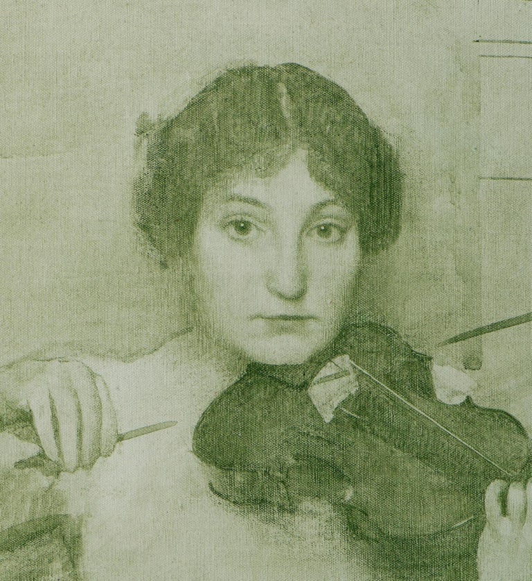 Study of the Violinist for Holy Motherhood - Painting by Thomas Cooper Gotch
