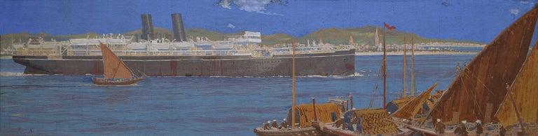 Frank Henry Mason Landscape Art - Steamship in Asia
