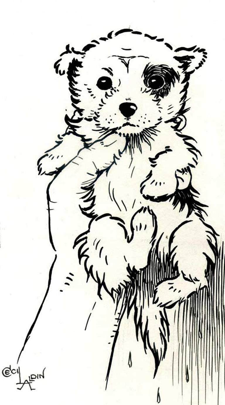 Cecil Charles Windsor Aldin, R.B.A. Animal Art - A Puppy