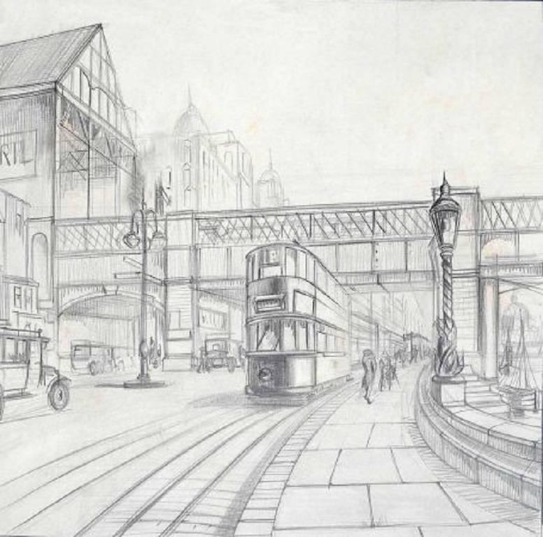 Embankment Station, Mid 20th Century Pencil