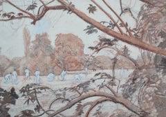 The Cricket Match - 20th Century Watercolour Landscape Sporting Scene