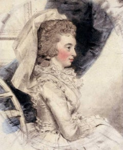 Portrait of a Lady in a White Dress - 18th Century Watercolour