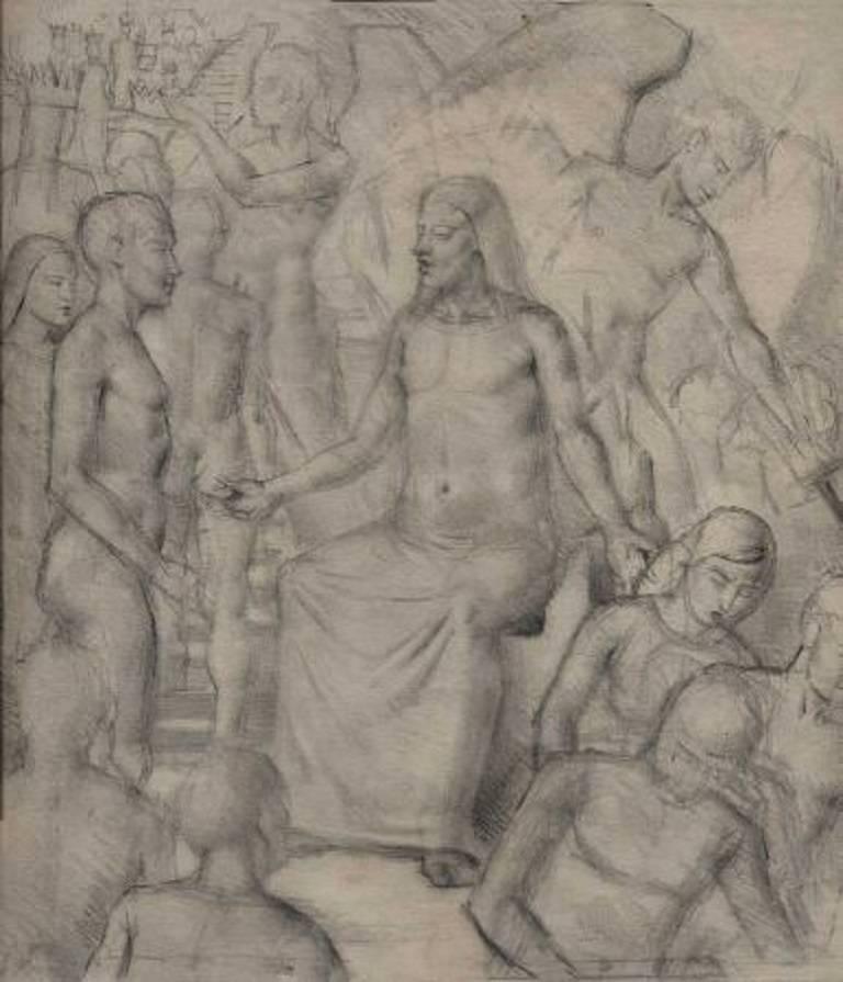 Gordon Scott Figurative Art - Jesus at the Stairs, Mid 20th Century Pencil Drawing
