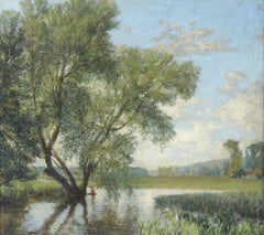 A Willow Tree -  British landscape, 20th Century, Oil