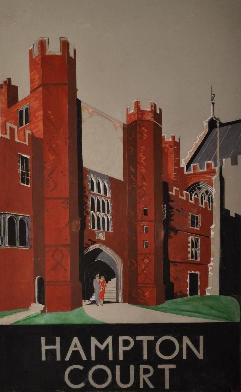 Gerald Mac Spink Landscape Art - HAMPTON COURT 20th Century Original Poster Artwork
