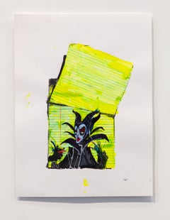 Nic Mathis, Untitled (Maleficent), unique Disney ink unframed drawing on paper