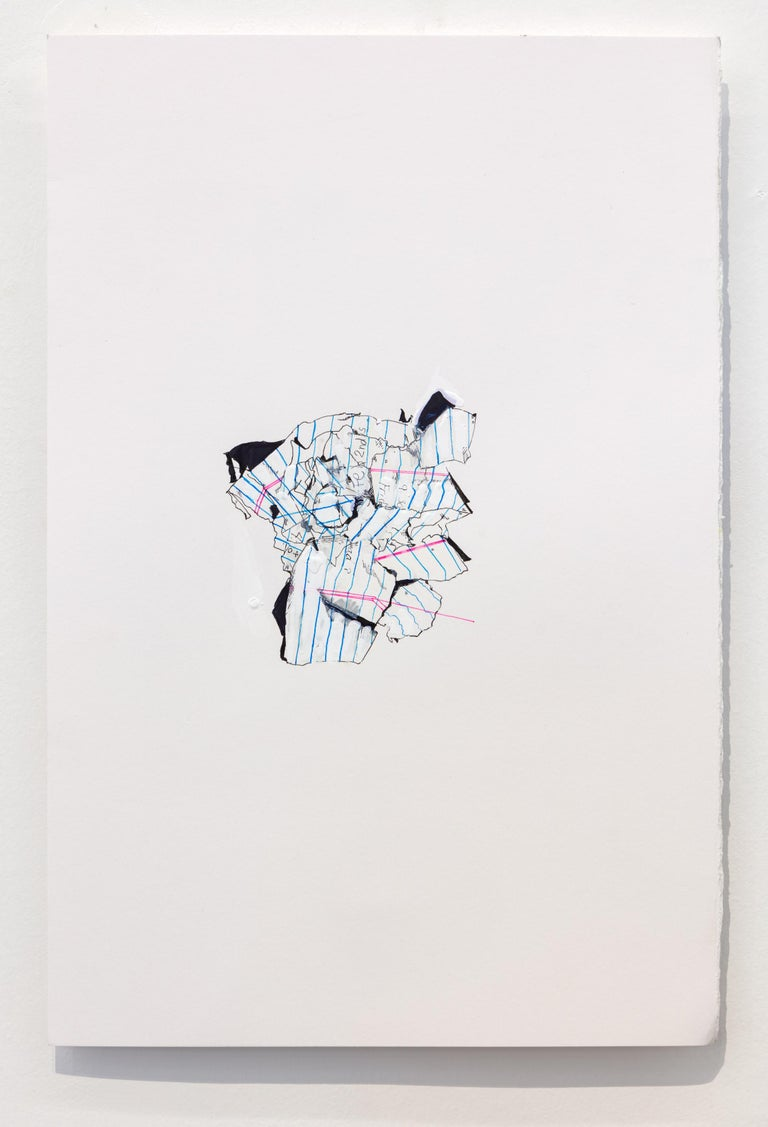 Nic Mathis, Untitled (Blank White 1), unframed ink and acrylic paint drawing  - Art by Nic Mathis