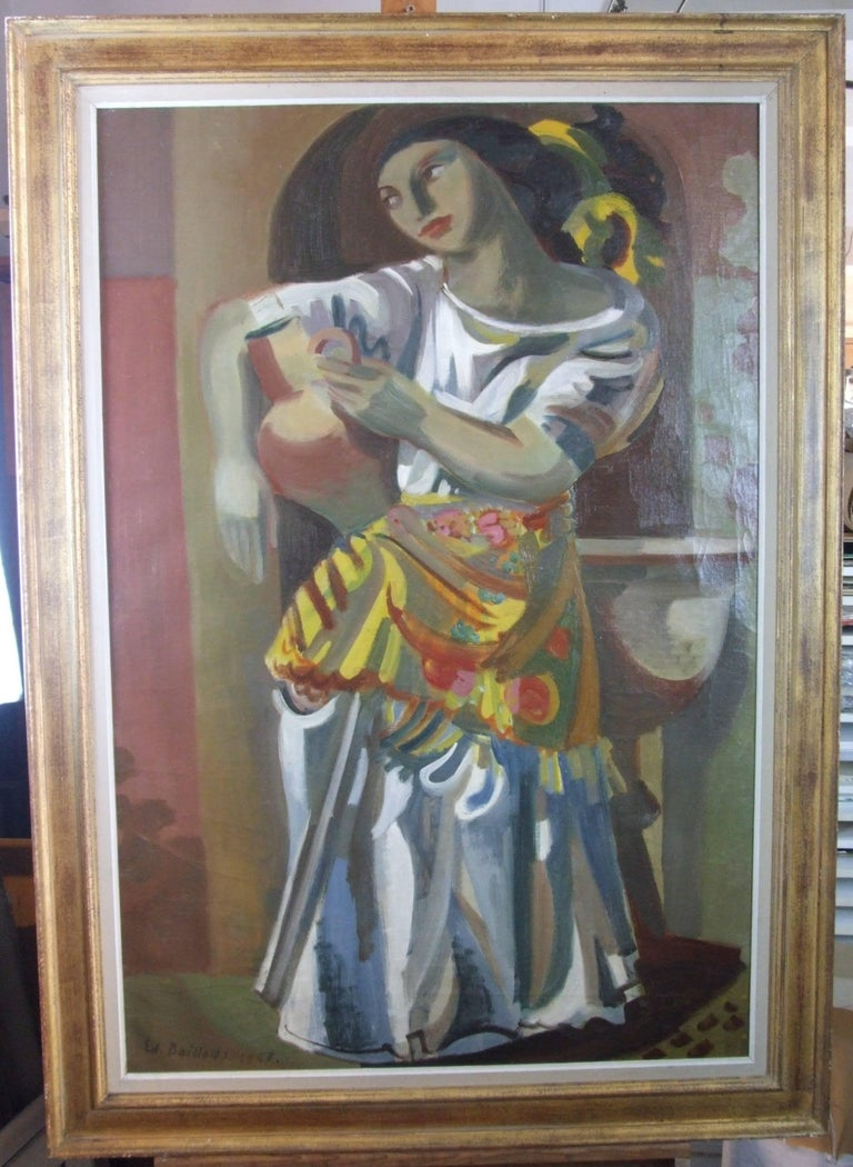 Edouard Baillods Figurative Painting - La porteuse d'eau - The water carrier