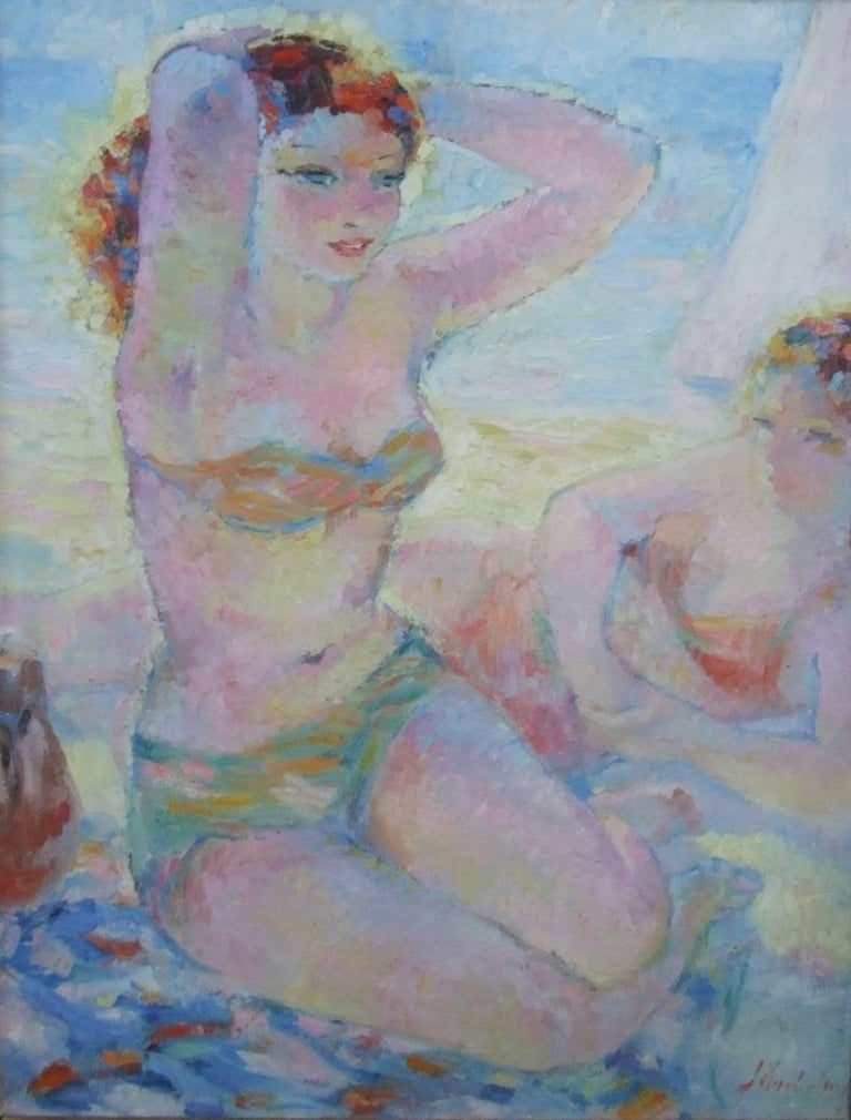 Les baigneuses - Eté (summer) - Painting by Suzanne Blanche Kaehrling