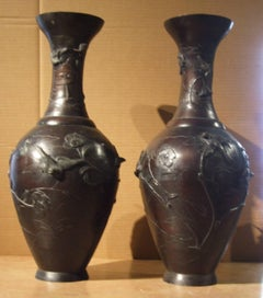 Pair of bronze japanese vases