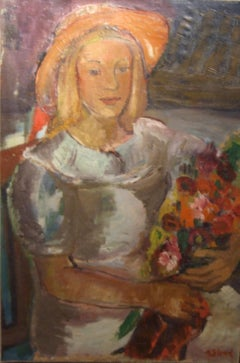 Young lady with flowers