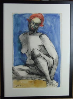Nude seated woman