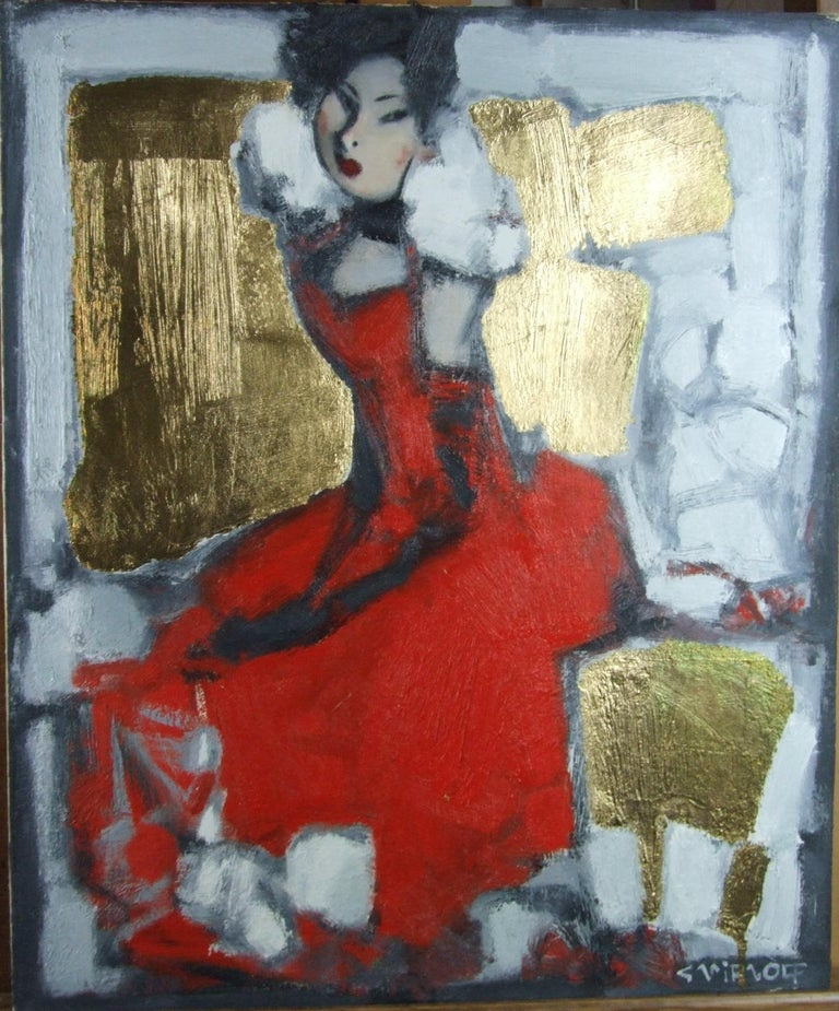 Smirnoff Andrej Figurative Painting - The red dress