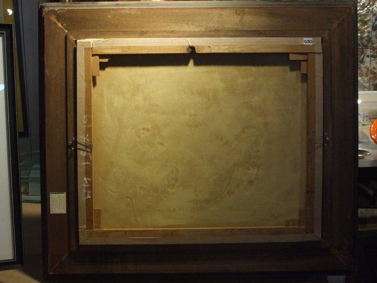 Huile sur toile. Encadré: 72x83 cm.  René Burlet, peintre savoyard, est le fils unique de Frédéric, pharmacien mycologue. Il suit ses études secondaires au lycée de garçons de Chambéry et continue son cursus à l'école des Arts industriels à Grenoble