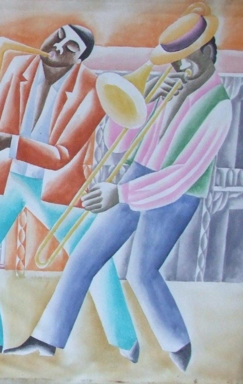 Jazz Panel #2 - Gray Figurative Art by Paul de Cayeux