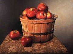 "Brown and red photorealist still-life, ""A Quarter Bushel (A Basket of Apples)"""