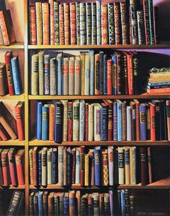 """Red and blue photorealist library painting,""""Vanishing Species"""", gouache on board"""