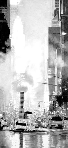 "Black and white photorealist drawing,""7th Avenue"", Roger Watt, graphite on paper"