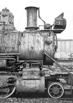 "Black and white train ""Old #1"" Roger Watt photorealist drawing graphite on paper"