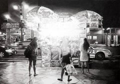 """Black and white photorealist drawing, """"West Side"""", Roger Watt, graphite on paper"""