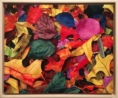 "Photorealistic red yellow and blue leaves, ""October 3rd"", oil on canvas on panel"