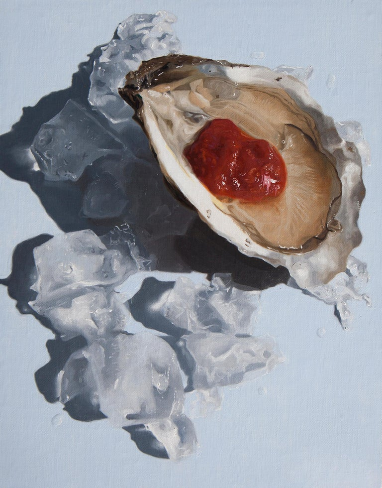 "Nadine Robbins Still-Life Painting - Photorealistic oyster painting, ""Ice Ice Baby"", blue red and brown"