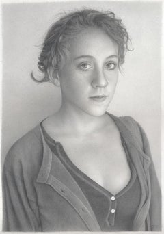 "Realist drawing of a young woman ""Nellie"" graphite on paper"