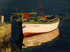 """Realist boat painting, """"She Waits For His Return"""", oil on canvas"""