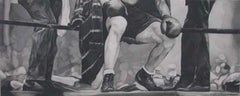 """Realist Graphite on Paper Drawing, """"Between Rounds"""" Sammy Mandell"""