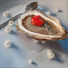 """Small scale Photorealist oyster painting with blue, red, and brown, """"Pearls"""""""