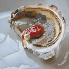 """Small scale Photorealist oyster painting with red, brown, blue """"Wellfleet Pearl"""""""
