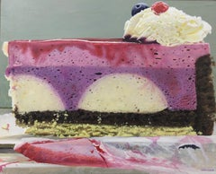 """Photorealist Still Life with Cake, """"Forest Fruit Cream II"""", acrylic on board"""