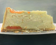 "Photorealist Still Life with Cake, ""Cheese Tangerine II"", acrylic on board"
