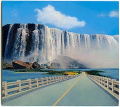 """small scale landscape, """"Wish You Were Here (Waterfall)"""", (Photorealism)"""