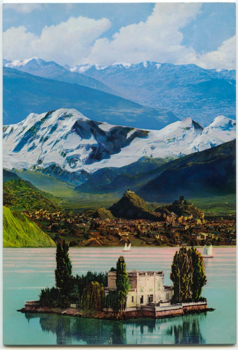 "Ron Weis Landscape Painting - small scale landscape, ""Wish You Were Here (Island)"", (Photorealism)"