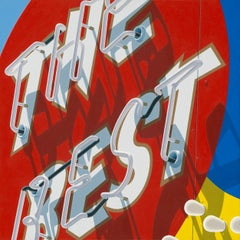 """Photorealist sign with red yellow and blue, """"The Best"""" (Photorealism)"""