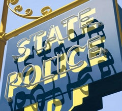 """Photorealist sign with blue and yellow, """"State Police"""" (Photorealism)"""