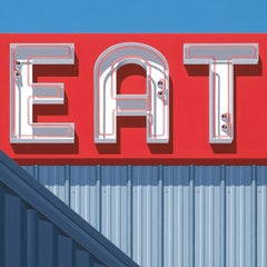 """Photorealist sign with blue red and gray, """"EAT"""" (Photorealism)"""
