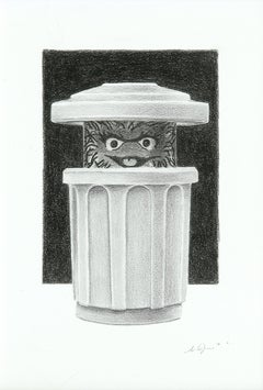 """Photorealist graphite drawing """"Oscar the Grouch"""" Fisher Price Little People toy"""