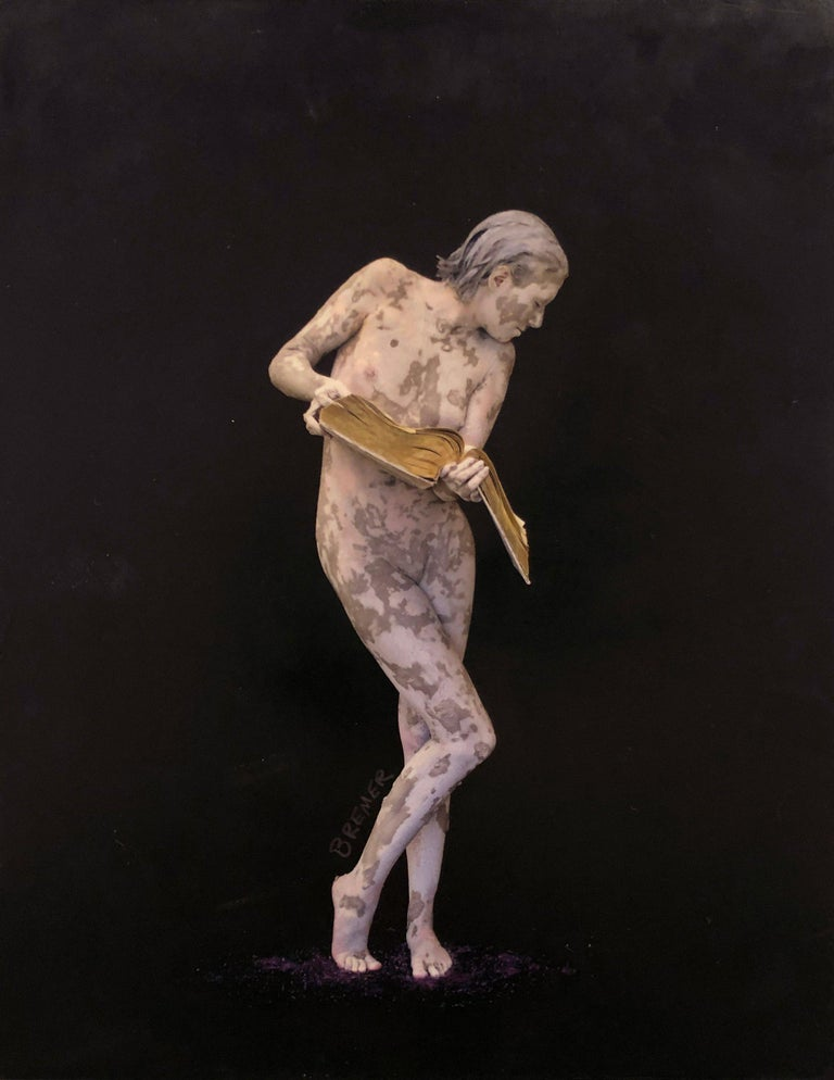 """Charles Bremer Nude Painting - Nude figure with black and purple, """"Books of the Future III"""", encaustic on panel"""