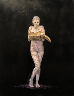 "Nude Figure with black and purple, ""Books of the Future I"", encaustic on panel"