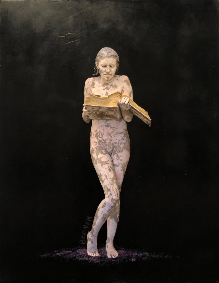 "Charles Bremer Nude Photograph - Nude Figure with black and purple, ""Books of the Future I"", encaustic on panel"