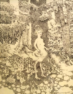 "Ballpoint on paper drawing, ""Bird Girl Somewhere Deep in the Woods"""