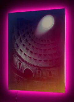 """Electric Chiaroscuro 2"" Pantheon (Photorealism, Contemporary Painting, LEDs)"