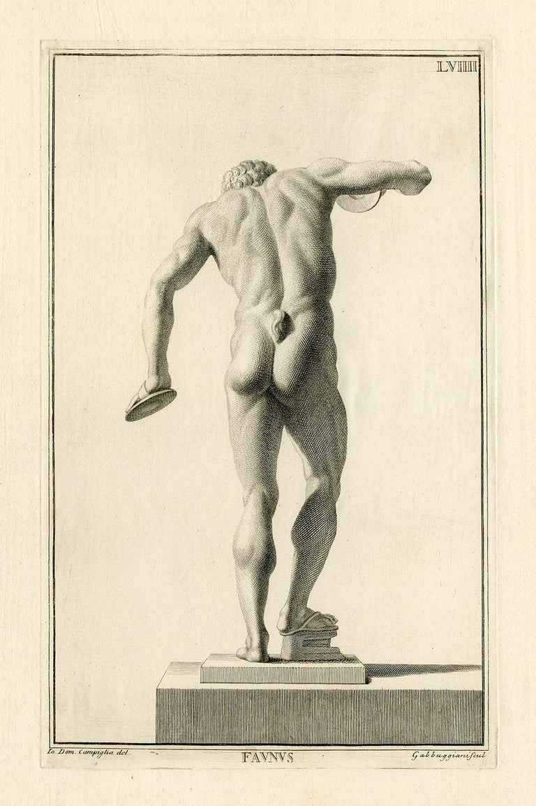 Giovanni Domenico Campiglia, 'Faunus', engraving, 1734, edition unknown. Signed 'Dom. Campiglia del.' in the plate, lower left. A fine impression, on handmade antique, laid paper; the full sheet with wide margins (2 3/8 to 3 1/4 inches), in very