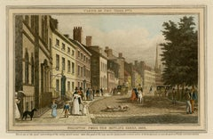 Broadway from the Bowling Green, 1828   — early New York City, hand-coloring