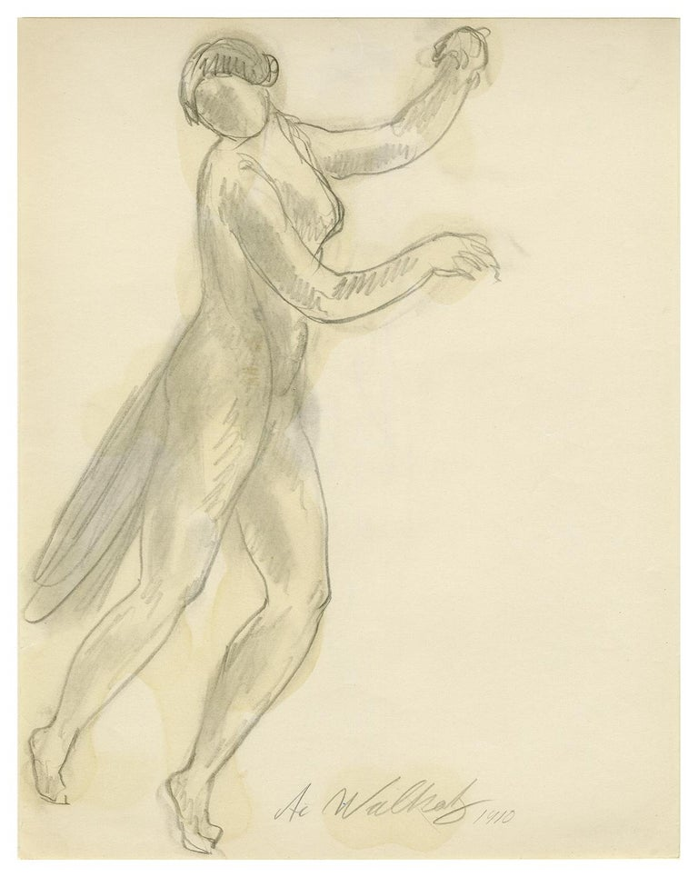 Abraham Walkowitz, Untitled (Isadora Duncan Dancing 2),  pencil and watercolor wash, 1910. Signed and dated in pencil. A fine, spontaneous, subtly colored work, on thin, cream wove drawing paper, tipped onto a warm white support sheet, in excellent