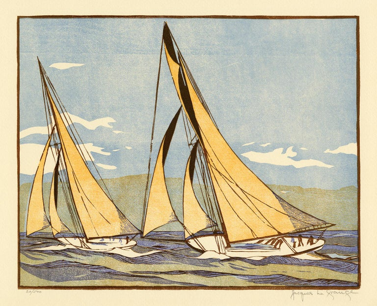 Jacques La Grange Figurative Print - 'The Start of the Race' from 'Drama and Color in the America's Cup Races'