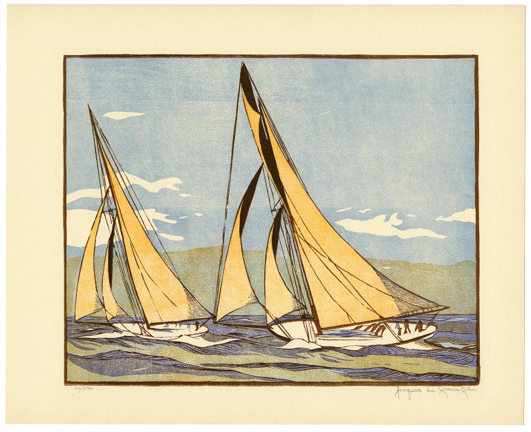 'The Start of the Race' from 'Drama and Color in the America's Cup Races' - Print by Jacques La Grange